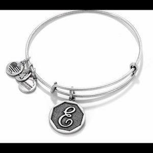 Alex And Ani Metallic Initial E Charm Bangle